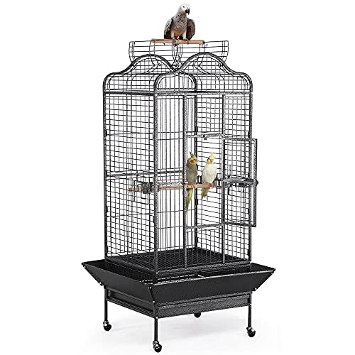 Yaheetech Extra Large Rolling Metal Bird Cage Parrot Cage for African Grey Parakeets Cockatiels with Stand Playtop Black 160cm High