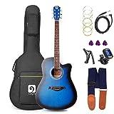 Vangoa Guitare Acoustique électrique 4 Band EQ, 4/4 Guitare électroacoustique 41 Pouces Guitares débutantes avec de riches accessoires, Bleu