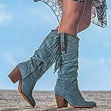 SSFG Botas Altas para Mujer Bota de Vaquero Occidental, Botas largas de tacón Alto con Flecos Bota de Gamuza con Punta Redonda para Mujer para Invierno otoño