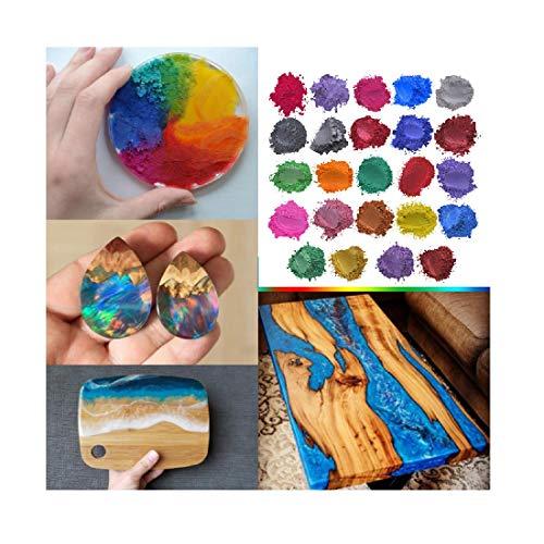 TIREOW - 24 colores de resina epoxídica metálica, 5 g, con