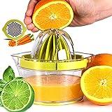 PopHMN Exprimidores manuales, exprimidor manual 4 en 1 Exprimidor multifuncional con separador de clara de huevo Base de jarra Panel rallador
