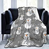 KUOAICY Snowman Frosty Fleece Throw Blanket Soft Bed Couch Sofa Blankets, 80'' X 60'' Twin