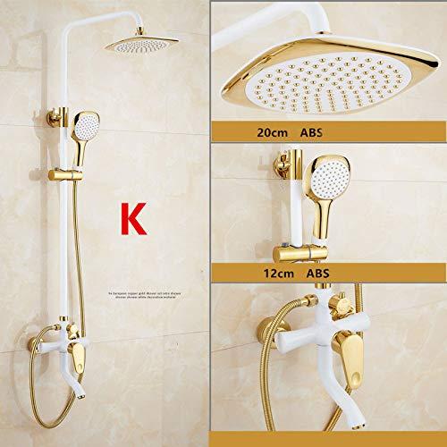 Duschset im europäischen Stil Messing Mischbatterie Wandmontage Bad Duschkopf Mischwasserventil Home Duschsystem Gold Weiß Chrom poliert Typ-K
