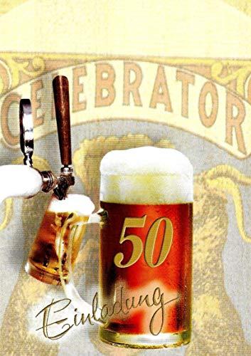 Uitnodigingskaarten 50e verjaardag vrouw man met binnentekst motief bier 10 vouwkaarten DIN A6 staand met witte enveloppen in set verjaardagskaarten uitnodiging 50 verjaardag man vrouw K249
