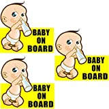 Rockmount Electronics (3 Pack) 5' x 4.9' Baby ON Board Vehicle Car Window Safety Warning Security Alert Sticker Decals - Back Self Adhesive Vinyl