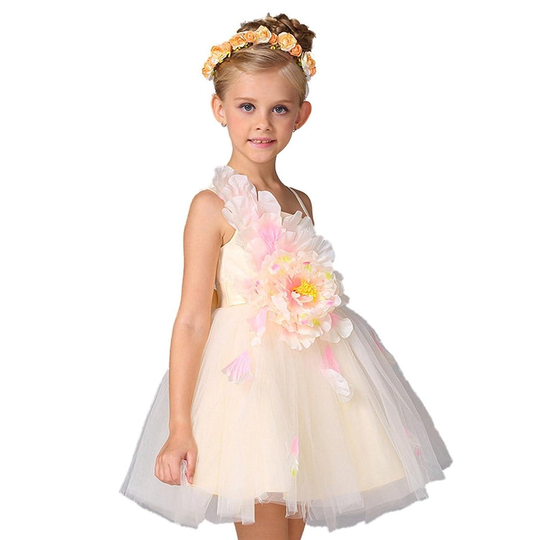 ZAH 子供ドレス 女の子 花 ピアノ 発表 会 結婚式 入園式 演奏会 花嫁介添人 卒業式 お嬢様 ドレス A001