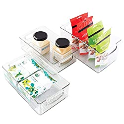 Kitchen organization products including a pantry organizer bins.