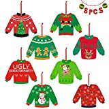 8PCS Ugly Sweater Christmas Tree Ornaments Tacky Christmas Sweater Wood Ornaments Kit for Christmas Party Decorations Wintertime Holiday Gathering Office Xmas Party Gifts