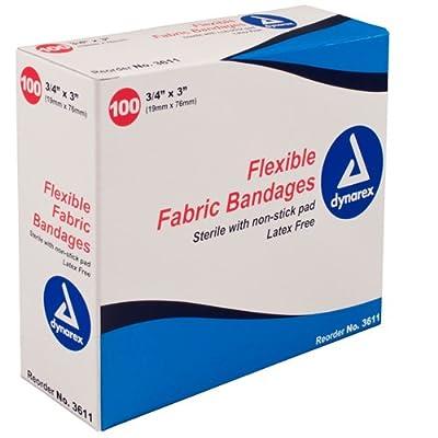 "Dynarex 3611 Flexible Fabric Bandages, Case, 24 Boxes, 2400 Bandages, 3"" x 3/4"""
