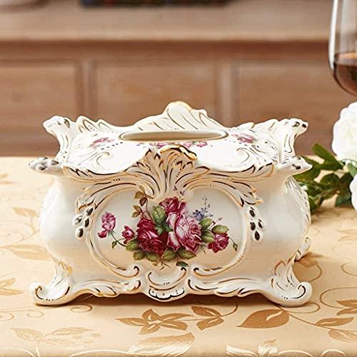KMILE Caja de pañuelos de almacenamiento decoración de cerámica europea caja de pañuelos decoración sala de estar creativo dibujo caja de papel decoración del hogar 13x25cm caja de pañuelos