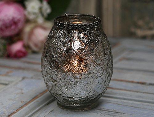 Windlicht Teelichthalter mit schönen Verzierungen im Glas und Perlenkante in Bauernsilber Deko Landhaus Shabby Nostalgie Vintage French Chic Antique