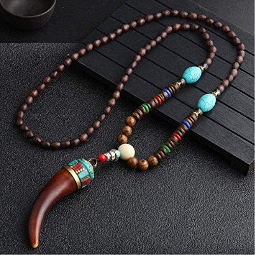 ZPPYMXGZ Co.,ltd Necklace Fashion Handmade Buddhist Mala Necklace Wood Beads Pendant Necklace Ethnic Horn Fish Long Jewelry Women Men