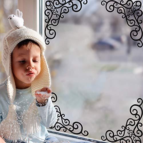 ZWXDMY Weihnachten Fensteraufkleber,Xmas Schwarzen Schmiedeeisernen Fenster Gitter, Abnehmbar Re-Locate Wasserdicht, Schaufenster Glas Home Kunst Dekoration, Urlaub Wandbild Poster