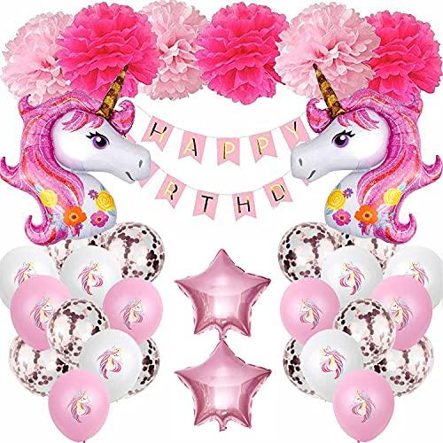 XWTJUER Unicornio Decoración de Cumpleaños para Niña, Cuento de Hadas Rosa Fiesta Cumpleaños Unicornio Conjunto de Banner, Unicornio Globos,Decoración de Pompón Rosa Baby Shower y Fiesta de Niñas.
