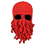 diffstyle Knitted Octopus Beanie Cap Winter Warm Funny Wool Crochet Hat (Red)