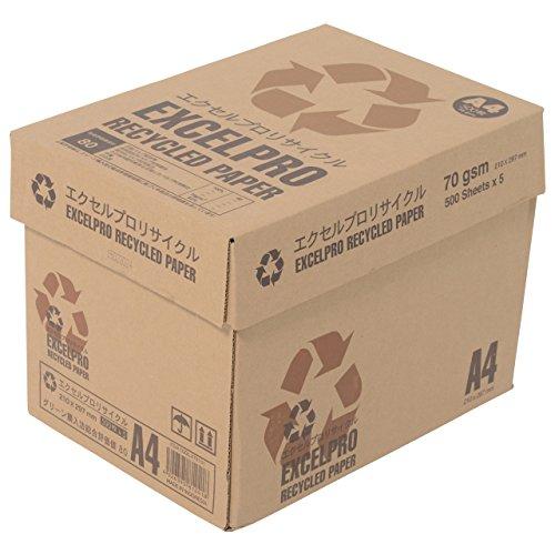 APP 再生コピー用紙 エクセルプロリサイクル A4 白色度82% 古紙100% グリーン購入法総合評価値80 紙厚0.09mm 2500枚(500枚×5冊)
