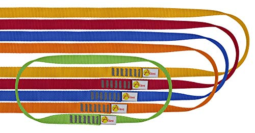 ALIENS Bandschlingen Set Open Sling (Bruchlast 22 kN/2200kg, 16 mm Breite), Farbe:5er Set (30/60/80/120/180 cm)