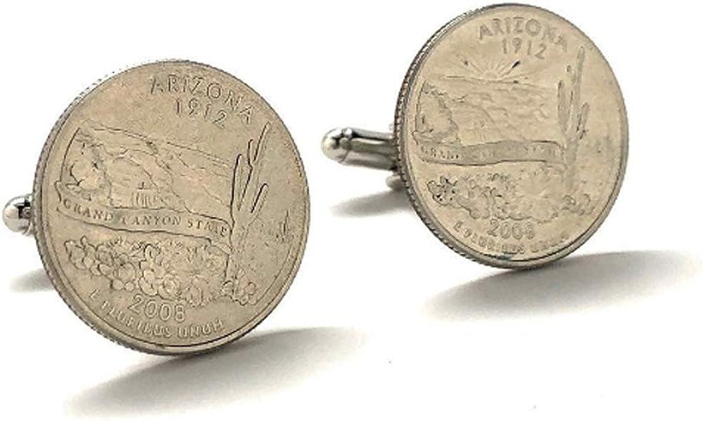 Arizona State Quarter Cufflinks Suit Flag State Coin Jewelry USA US United States Phoenix Mesa Tempe Grand Canyon Cuff Links