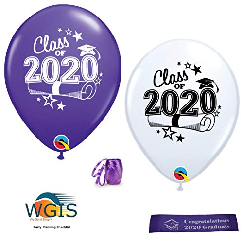 Class of 2020 Graduation Balloons - 12 Purple and White Balloons With Curling Ribbon and Bonus Printed Congratulations Ribbon