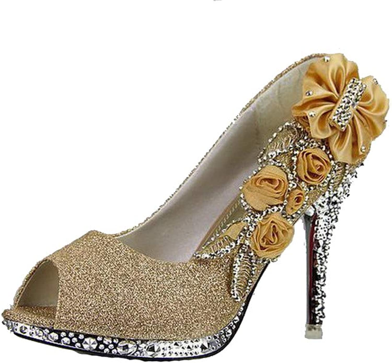 AllhqFashion Women's High-Heels Sequins Solid Pull-On Open-Toe Pumps-shoes