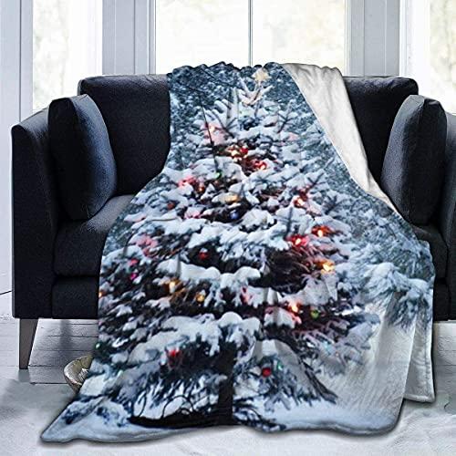 Manta de Microfibra Manta de Tiro Árbol de Copo de Nieve de Navidad Impreso Ultra Suave Ligero Acogedor y cálido Manta de Microfibra difusa para Cama Sofá Sala de Estar Todas Las Estaciones-