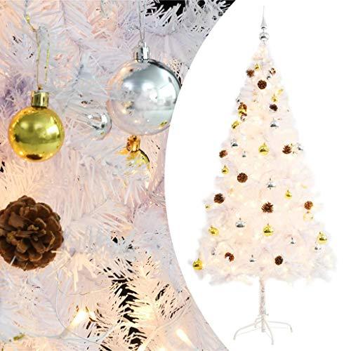HUANGDANSP Árbol Navidad Artificial Decorado Bolas Luces LED 180 cm Blanco Casa y jardín Decoración Decoraciones Festivas y estacionales Adornos Festivos
