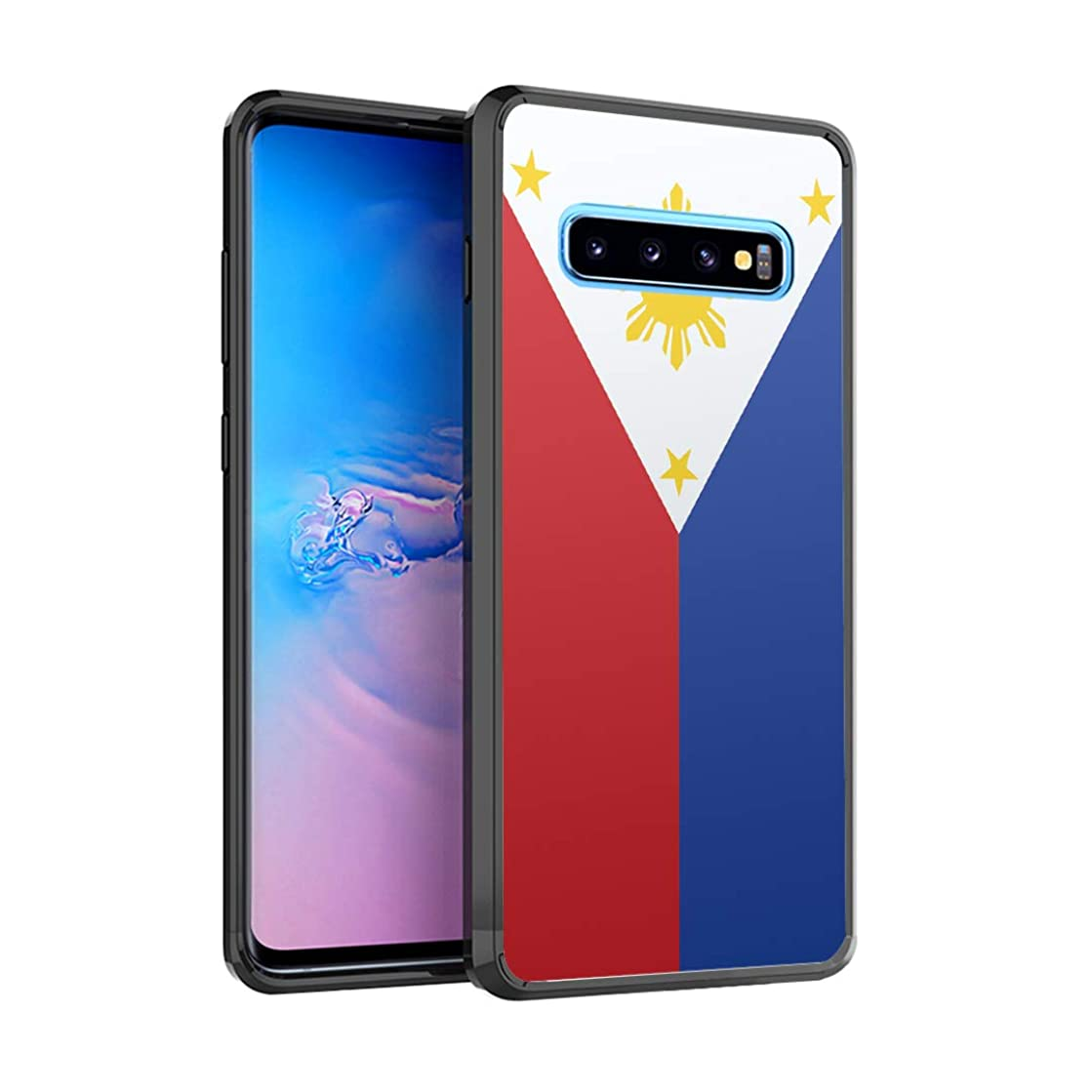 Moriko Case Compatible with Galaxy S10 [Drop Protection Slim Cushion Bumper Black Case] for Samsung Galaxy S 10 (2019) - (Philippines Flag)
