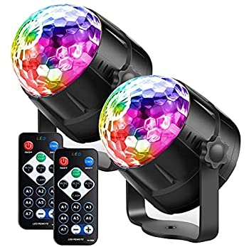 Party Lights Disco Ball LED Strobe Lights Sound Activated RBG Disco Lights,dj Lights,Stage Light for Home Room Dance Parties Birthday Bar Karaoke Xmas Wedding Show Club 2 Pack   7 Modes