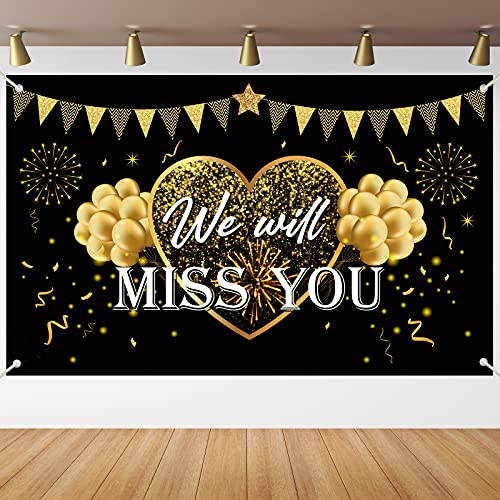 We Will Miss You Party Supplies Black Gold Going Away Party Banner Backdrop We Will Miss You Party Decorations Large Yard Sign Backgroud for Gradutaion Farewell Anniversary Retirement Party Decorations Supplies