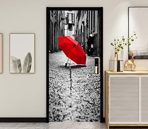 Tür Wandbild 3D Schlafzimmer Innentür Aufkleber Badezimmer Dekoration Haus Außentür Aufkleber 38,5X200Cm 2Pcs Plakat Tapete Roter Regenschirm Gasse