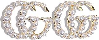 Luxury Initial Letter G Pearl Stud Earrings CZ Drop...