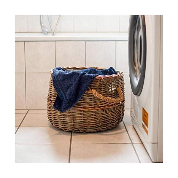 RM Diseño Cesta de mimbre/cesta para leña de alta calidad para su chimenea madera, cesta para la ropa o decoración…