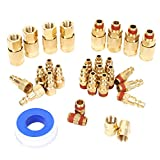 FYPower 30 Pieces 1/4' NPT Air Coupler and Plug Kit, Quick Connect Air Fittings, Industrial Solid Brass Quick Connect, Connector Set