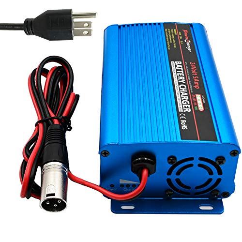 24V 5A Automatic Battery Charger Trickle Charger Battery Maintainer with XLR Connector 4 stages for Scooter Wheelchair Car Motorcycle eBike Lawn Mower Marine Boat