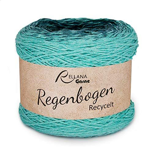 Rellana Regenbogen recycelt, Bobbel, 4-Fach, 100 Gramm, mit Strickanleitung für EIN Dreieckstuch (1313 Salvia)