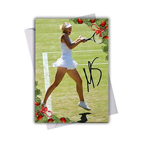 Maria Sharapova Tennis 1 Chistmas Card with Festive Xmas Themed Design