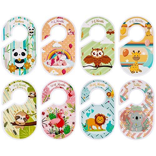 Fanshiontide 8 pezzi Baby Closet Dividers simpatici animali in plastica per cameretta dei bambini