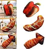 Welltobuy Juguete de Peluche Simulación BBQ Comida Almohadas Creativas A la Parrilla Piernas de Pollo Salchicha Peluches Cojines Divertidos