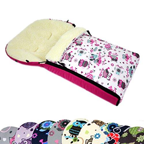BAMBINIWELT universaler Winterfußsack (90cm oder 108cm), auch geeignet für Babyschale, Kinderwagen, Buggy, aus Wolle im Eulendesign (90cm, 1)