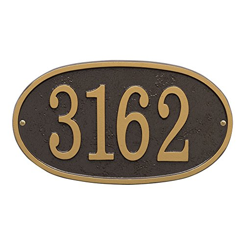 """Whitehall Personalized Cast Metal Address Plaque - Custom House Number Sign - Oval (12"""" x 6.75"""") Bronze with Gold Numbers"""