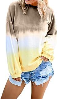 Women's Casual Sweatshirt O-Neck Gradient Contrast Color Long Sleeve Hoodie Pullover Top