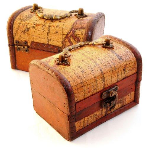 2er SET Schatztruhe zur Dekoration (Antik) mit Lederüberzug im Landkarten Stil, Schatulle aus Holz zur Aufbewahrung von schmuck & Kleinteilen - Marke Ganzoo