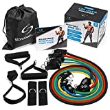 Starwood Sports Resistance Bands Set – 5 Tube Exercise Bands (up to 68 kg Resistance) Foam Handles, Ankle Straps and Door Anchor for Men and Women