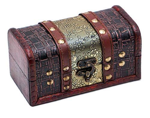 Brynnberg Caja de Madera Cofre del Tesoro Pirata de Estilo Vintage   Hecha a Mano   Diseño Retro  