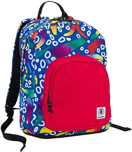 ZAINO INVICTA - OLLIE PACK - Roots Blue Rosso - tasca porta pc padded - scuola e tempo libero americano 25 LT