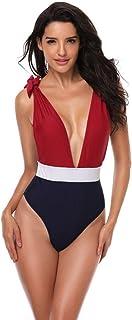 セクシーなワンピース女性の水着vネック包帯背中が大きく開い水着ビーチ水着カラーマッチングモノキニ