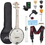 AKLOT Banjo Ukulele Concert 23 inch Remo Drumhead Open Back Maple Body 15:1 Advanced Tuner with Two Way Truss Rod Gig Bag Tuner String Strap...