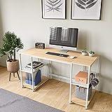 Domy Home 53' Computer Desk Student Kids Writing Desk Laptop Desks w 2 Large Storage Shelves White Craft Desktop PC Table for Bedroom Home Office Study Dormitory, Headphone Hook, Easy Assembly, Oak
