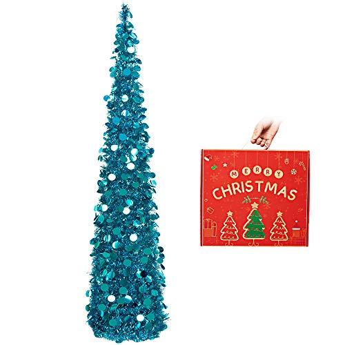 N&T NIETING Künstlicher Weihnachtsbaum mit Ständer, 5ft(150cm) wiederverwendbar zusammenklappbarer Lametta-Baum für Weihnachtsdekorationen, Haus, Bürodekor, Blau