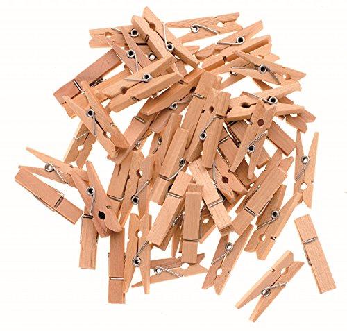 Glorex 6 2200 652 - Wäscheklammern aus unlackiertem Birkenholz, ca. 35 mm, 48 Stück, ideal zum Basteln und Dekorieren, für Fotoleinen, Tischkärtchen, Grußkarten